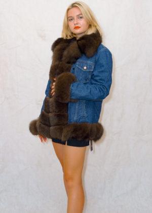 Джинса куртка с воротником
