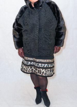 Каракуль черный стойка с норкой